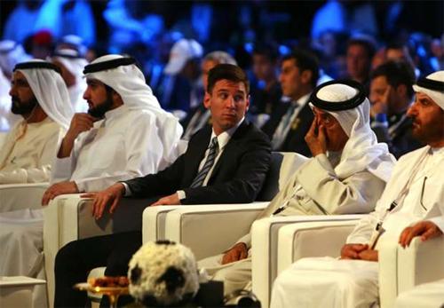 Messi tại lễ trao giải Globe Soccer Awards. Ảnh: Reuters