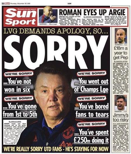 Sun dùng gần nguyên một trang để xin lỗi HLV của Man Utd.