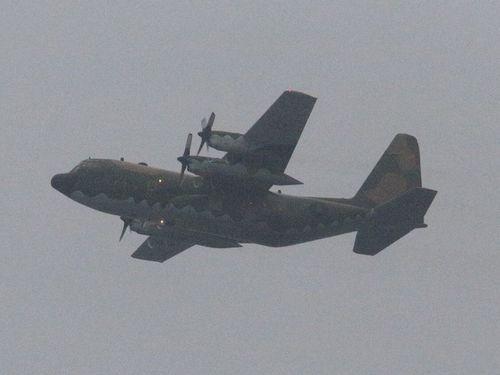 Máy bay C-130 chở ông Mã ra đảo Ba Bình trái phép. Ảnh: FocusTaiwan